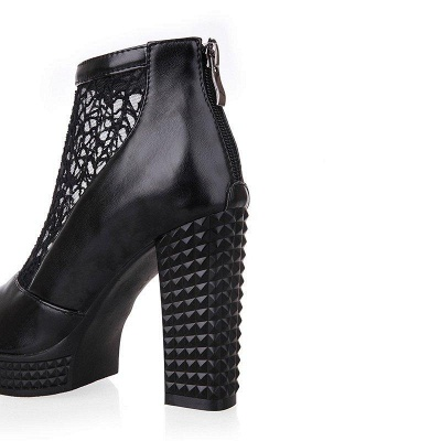 Hollow-out Daily Elegant Peep Toe Chunky Heel Boots On Sale_7