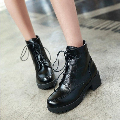 Daily Lace-up Fall PU Round Boots On Sale_2
