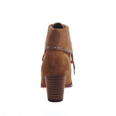 Chunky Heel Daily Rhinestone Pointed Toe Boots On Sale_10