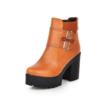 Buckle PU Chunky Heel Round Boots On Sale_5