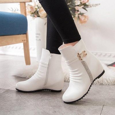 Daily Zipper PU Wedge Heel Round Toe Elegant Boots On Sale_4