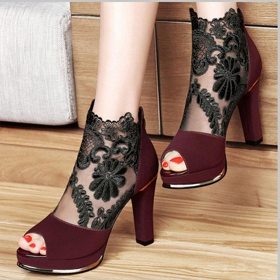 Black Lace Chunky Prom Shoes Party Shoes On Sale_2