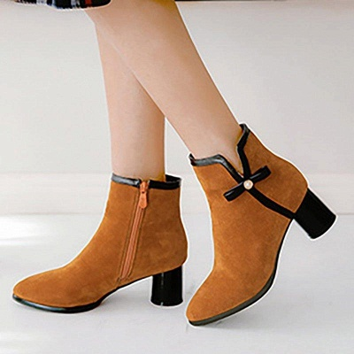 Daily Chunky Heel Zipper Pointed Boots On Sale_1
