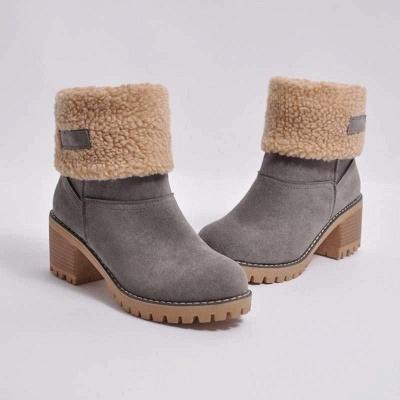 Nubuck Chunky Heel Slip-On Round Toe Boots On Sale_3