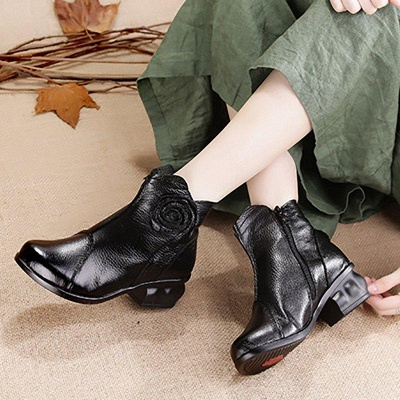 Daily Flower Round Toe Zipper Chunky Heel Boots On Sale_5