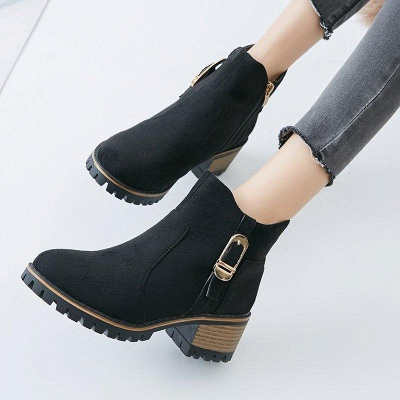 Buckle Chunky Heel Daily Round Toe Boots On Sale_2