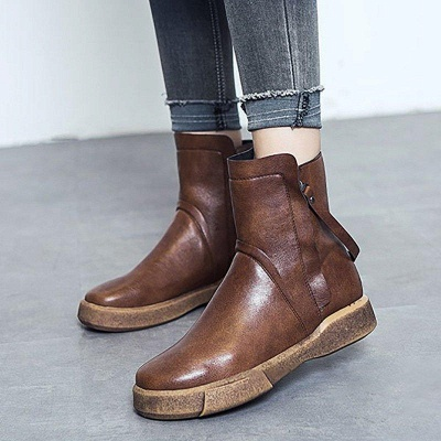 Zipper Daily Round Toe Flat Heel Boots On Sale_2