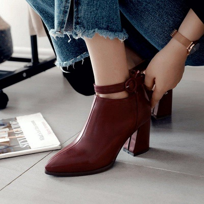 Chunky Heel PU Daily Tie Round Boots On Sale_11