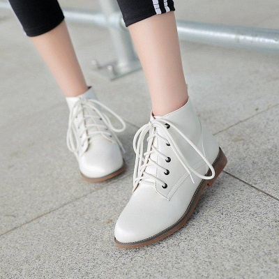 Low Heel Lace-Up Pointed Boots On Sale_4