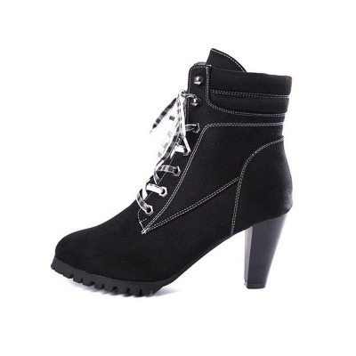 Women's Boots Brown Lace-Up Round Toe Elegant Chunky Heel Boots On Sale_2