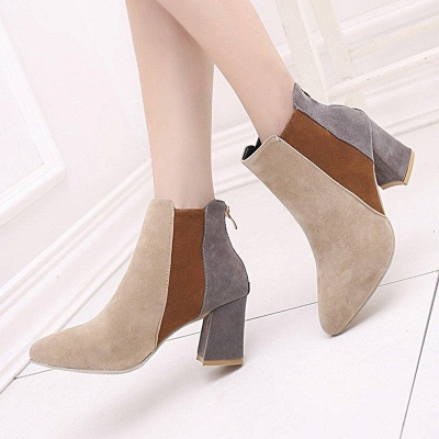 Zipper Daily Chunky Heel Pointed Toe Suede Boots On Sale_1