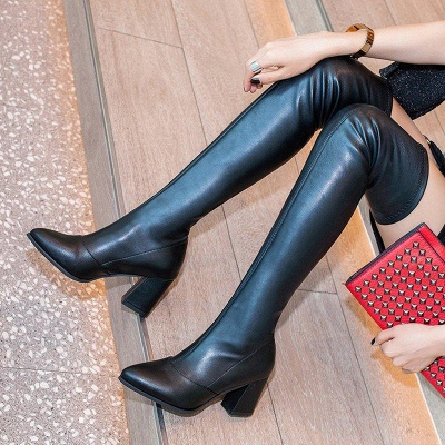 Black Winter Chunky Heel Daily Pointed Toe Boots On Sale_3