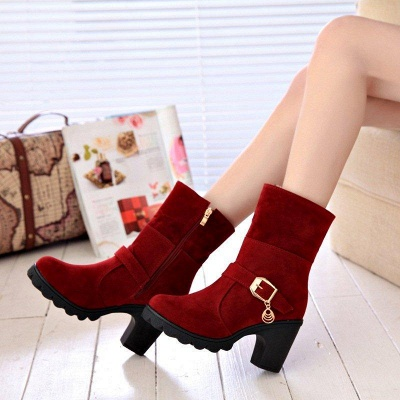 Fall Daily Suede Chunky Heel Round Boots On Sale_3