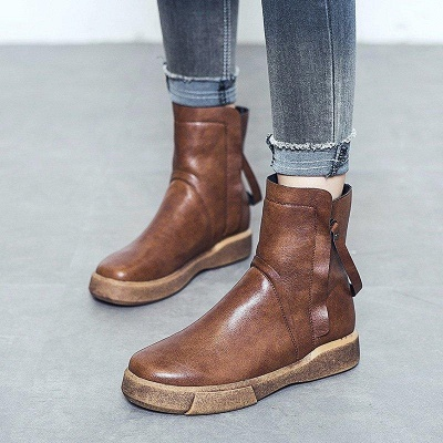 Zipper Daily Round Toe Flat Heel Boots On Sale_6