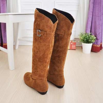 Suede Daily Wedge Heel Buckle Boots On Sale_3