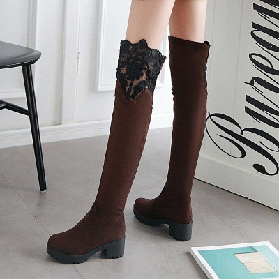 Blue Suede Daily Chunky Heel Pointed Boots On Sale_8