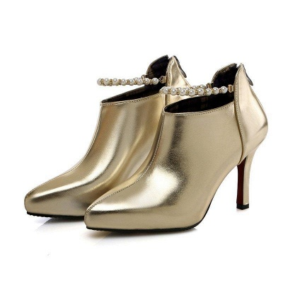 Silver Zipper Daily Elegant Stiletto Heel Pointed Toe Boots On Sale_3