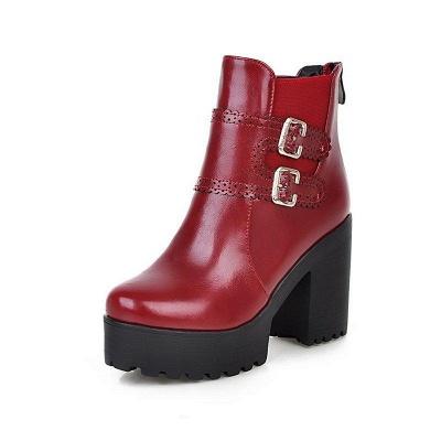 Buckle PU Chunky Heel Round Boots On Sale_6