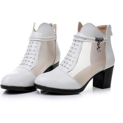 Beading Chunky Heel Round Toe Zipper Boots On Sale_2
