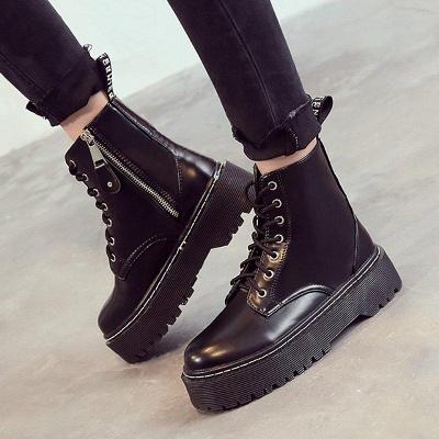 Platform Lace-up Round Boots On Sale_4
