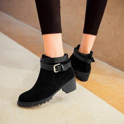 Buckle Chunky Heel Pointed Toe Elegant Boots On Sale_4