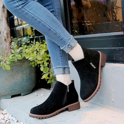 Women's Boots Ankle Boots Low Heel Suede Shoes On Sale_8