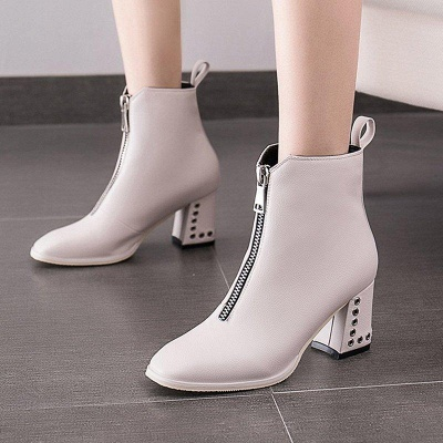 Zipper Chunky Heel Winter PU Daily Middle Heel Boots On Sale_2