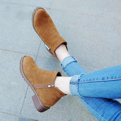 Women's Boots Ankle Boots Low Heel Suede Shoes On Sale_4