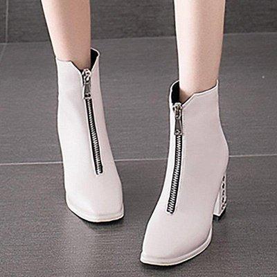 Zipper Chunky Heel Winter PU Daily Middle Heel Boots On Sale_7