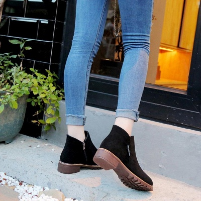 Women's Boots Ankle Boots Low Heel Suede Shoes On Sale_7