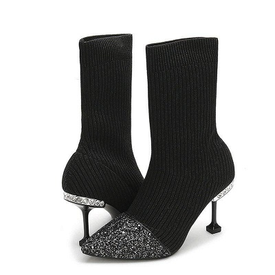 Daily Pointed Toe Cone Heel Knitted Fabric Boots On Sale