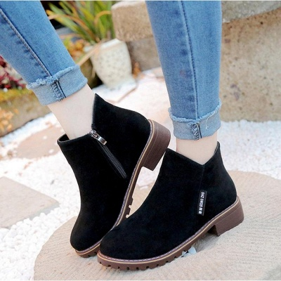 Women's Boots Ankle Boots Low Heel Suede Shoes On Sale_2