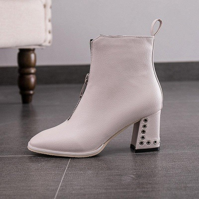 Zipper Chunky Heel Winter PU Daily Middle Heel Boots On Sale_5