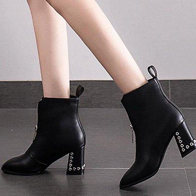 Zipper Chunky Heel Winter PU Daily Middle Heel Boots On Sale_3