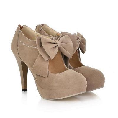 Round Toe Bowtie Hollow Stiletto Heel Women's Boots On Sale_7