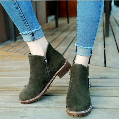 Women's Boots Ankle Boots Low Heel Suede Shoes On Sale_1
