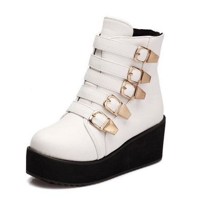 Women's Boots Black Round Toe Wedge Heel Boots On Sale