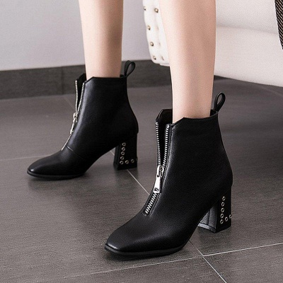 Zipper Chunky Heel Winter PU Daily Middle Heel Boots On Sale_8