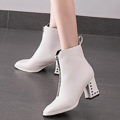 Zipper Chunky Heel Winter PU Daily Middle Heel Boots On Sale_4