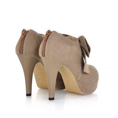 Round Toe Bowtie Hollow Stiletto Heel Women's Boots On Sale_8