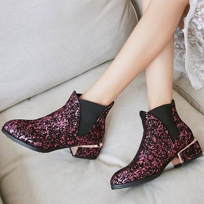 Chunky Heel Suede Zipper Boots On Sale_3