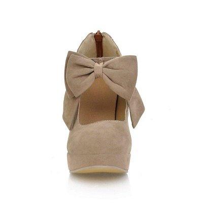 Round Toe Bowtie Hollow Stiletto Heel Women's Boots On Sale_9
