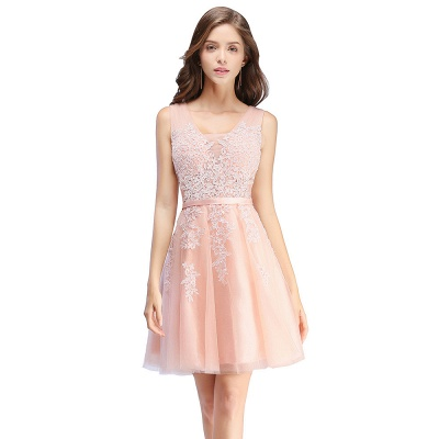 ADDILYNN | A-line Knee-length Tulle Prom Dress with Appliques_1
