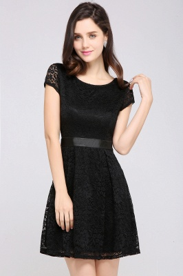 ARMANI | A-line Scoop Black Cheap Lace Homecoming Dress with Sash |_10