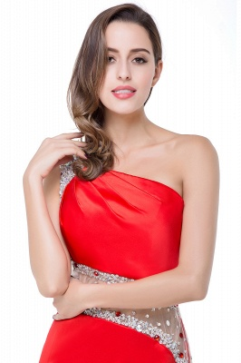 Cheap Cheap Crystal Beading One-shoulder Short Mermaid Prom Dress in Stock_13