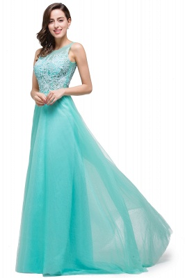 Cheap A-line Court Train Tulle Evening Dress with Appliques in Stock_12