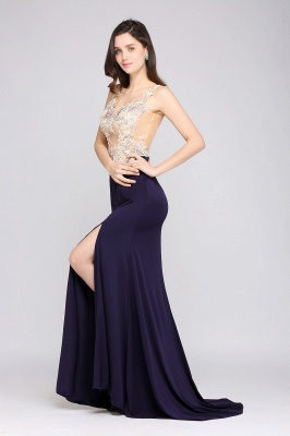 Sheath Sweep Train Dark Navy Evening Dresses_5