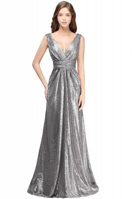 Cheap Elegant A-line Open Back Sequins Sleeveless V-neck Evening Dress in Stock_2