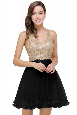 Cheap Short Tulle A-line V-Neck Appliques Sleeveless Prom Dress in Stock_3