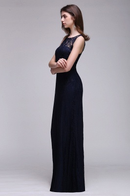 Simple Dark Navy Lace Bridesmaid Dresses Sleeveless Sheath Long Prom Dresses_6